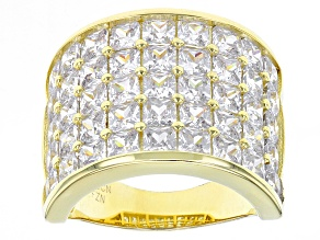 White Cubic Zirconia 18k Yg Over Sterling Silver Ring 12.83ctw