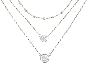 White Cubic Zirconia Rhodium Over Sterling Silver Necklace 4.89ctw