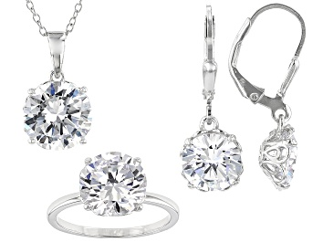 Picture of White Cubic Zirconia Rhodium Over Sterling Silver Jewelry Set 19.80ctw