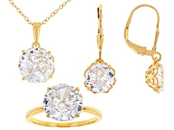 Picture of White Cubic Zirconia 18k Yellow Gold Over Sterling Silver Jewelry Set 19.80ctw