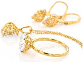 White Cubic Zirconia 18k Yellow Gold Over Sterling Silver Jewelry Set 19.80ctw