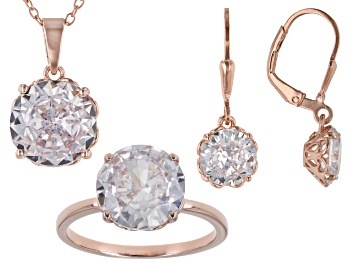 Picture of White Cubic Zirconia 18K Rose Gold Over Sterling Silver Jewelry Set 19.80ctw