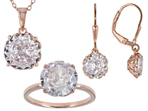 White Cubic Zirconia 18K Rose Gold Over Sterling Silver Jewelry Set 19.80ctw