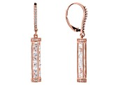 White Cubic Zirconia 18k Rose Gold Over Sterling Silver Earrings 6.67ctw