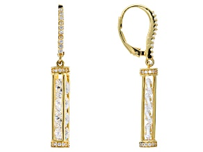 White Cubic Zirconia 18k Yellow Gold Over Sterling Silver Earrings 6.67ctw