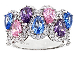 White, Pink, Blue, And Purple Cubic Zirconia Rhodium Over Sterling Silver Ring 5.42ctw