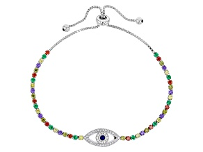 Green Purple Yellow Red White And Blue Cz Rhodium Over Sterling Adjustable Bracelet 2.92ctw