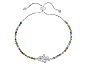 Purple,Yellow,Red,Green,Blue,White Cubic Zirconia Rhodium Over Sterling Bracelet 2.76ctw