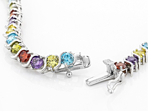 Red Purple Yellow Blue Green Cubic Zirconia Rhodium Over Sterling Silber Necklace 30.08ctw