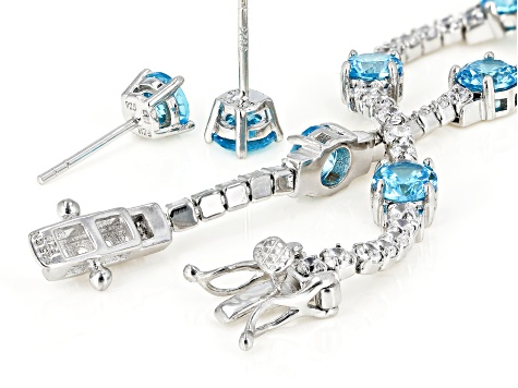 Blue And White Cubic Zirconia Rhodium Over Sterling Silver Bracelet And Earrings 11.33ctw