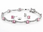 Pink And White Cubic Zirconia Rhodium Over Sterling Silver Bracelet And Earrings 11.33ctw