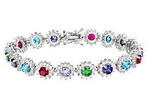 Red Synthetic Corundum,White,Green,Blue,Purple Cz Rhodium Over Sterling Bracelet 18.92ctw