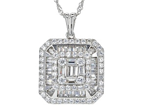 White Cubic Zirconia Rhodium Over Sterling Silver Pendant With Chain 4.04ctw
