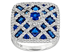Lab Created Blue Spinel And White Cubic Zirconia Rhodium Over Sterling Silver Ring 8.09ctw