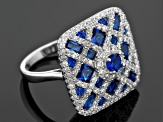 Blue Synthetic Spinel And White Cubic Zirconia Rhodium Over Sterling Silver Ring 8.09ctw