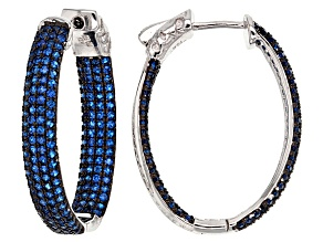Blue Synthetic Spinel Black And White Rhodium Over Sterling Silver Earrings 3.13ctw