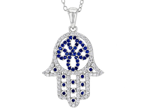 Lab Created Blue Spinel And White Cubic Zirconia Rhodium Over Sterling Pendant W/ Chain 1.15ctw