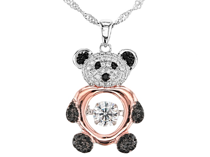 Panda Bear Up Close Double Sided Metal Heart Necklace Fashion Jewelry NEW CUTE!