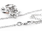 Black & White Cubic Zirconia 18k Rose Gold Over Silver & Rhodium Over Silver Pendant W/Chain 1.65ctw