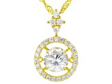 White Cubic Zirconia 18k Yellow Gold Over Sterling Silver Pendant With Chain 2.65ctw