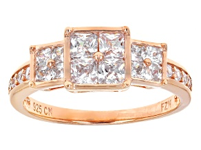 White Cubic Zirconia 18k Rose Gold Over Sterling Silver Ring 2.09ctw