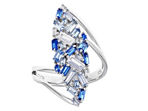 Lab Created Blue Spinel And White Cubic Zirconia Rhodium Over Sterling Silver Ring 2.62ctw
