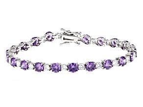 Purple And White Cubic Zirconia Rhodium Over Sterling Silver Bracelet 7.24ctw