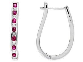 Red Synthetic Corundum And White Cubic Zirconia Rhodium Over Sterling Silver Earrings 1.31ctw