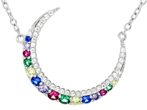 Red Synthetic Corundum and Multi-Color CZ Silver Necklace .99ctw