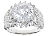 White Cubic Zirconia Rhodium Over Sterling Silver Ring 11.28ctw
