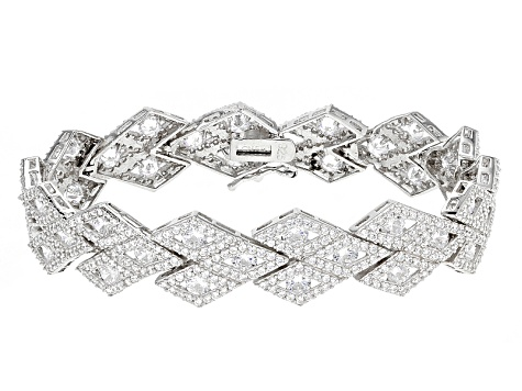 White Cubic Zirconia Rhodium Over Sterling Silver Bracelet 17.97ctw