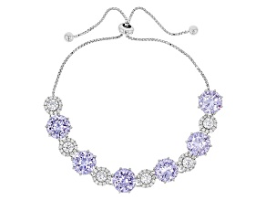 Purple And White Cubic Zirconia Rhodium Over Sterling Silver Adjustable Bracelet 30.57ctw