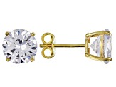White Cubic Zirconia 18k Yellow Gold Over Sterling Silver Earrings 27.50ctw