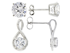 White Cubic Zirconia Rhodium Over Sterling Silver Earrings 13.85ctw