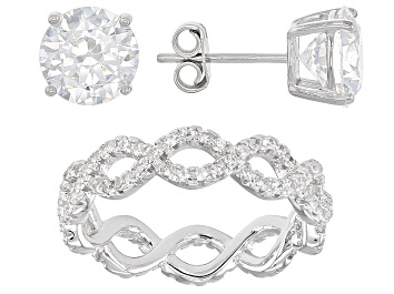 Picture of White Cubic Zirconia Rhodium Over Sterling Silver Ring And Earrings 6.75ctw