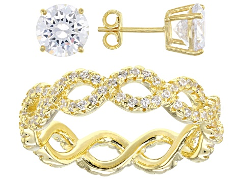 White Cubic Zirconia 18K Yellow Gold Over Sterling Silver Ring And Earrings 6.75ctw