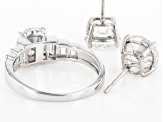 White Cubic Zirconia Rhodium Over Sterling Silver Ring And Earrings 10.00ctw