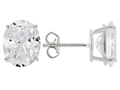 White Cubic Zirconia Rhodium Over Sterling Silver Ring And Earrings 10.40ctw