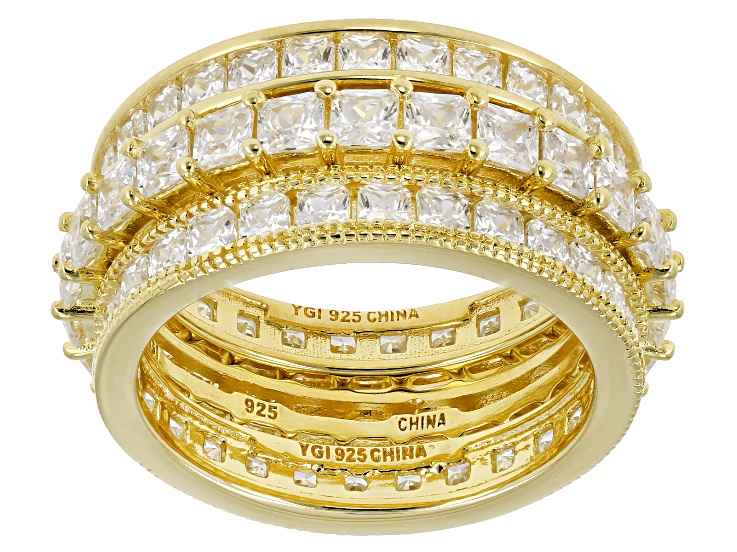 White Cubic Zirconia 18K Yellow Gold Over Silver Rings Set Of 3 6 20ctw