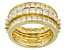 White Cubic Zirconia 18K Yellow Gold Over Silver Rings Set Of 3 6.20ctw