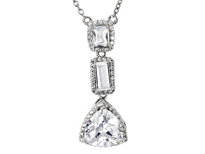 White Cubic Zirconia Rhodium Over Sterling Silver Necklace 4.60ctw