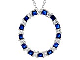 Lab Created Blue Spinel And White Cubic Zirconia Rhodium Over Sterling Pendant With Chain 1.42ctw