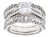 White Cubic Zirconia Rhodium Over Sterling Silver Ring With Bands 4.09ctw