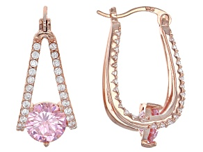 Pink And White Cubic Zirconia 18k Rose Gold Over Sterling Silver Earrings 5.96ctw