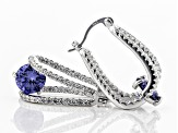 Blue And White Cubic Zirconia Rhodium Over Sterling Silver Earrings 5.96ctw
