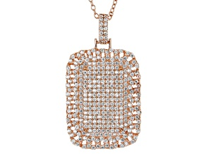 White Cubic Zirconia 18k Rg Over Sterling Silver Pendant With Chain 2.83ctw