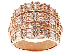 White Cubic Zirconia 18k Rose Gold Over Sterling Silver Ring 5.45ctw