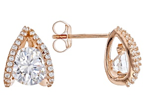 White Cubic Zirconia 18k Rose Gold Over Sterling Silver Earrings 4.54ctw