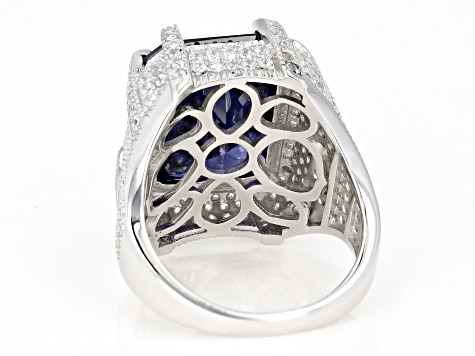 Blue And White Cubic Zirconia Rhodium Over Sterling Silver Ring 17.40ctw