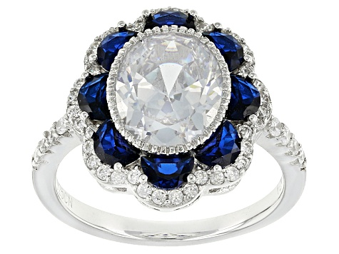 Lab Created Blue Spinel And White Cubic Zirconia Rhodium Over Sterling Silver Ring 5.58ctw